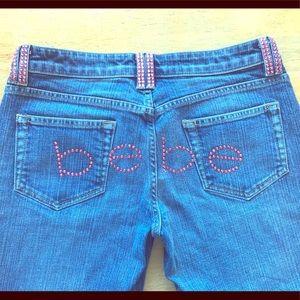 Bebe Pink Crystal Rhinestone Bootcut Jeans Sz 30